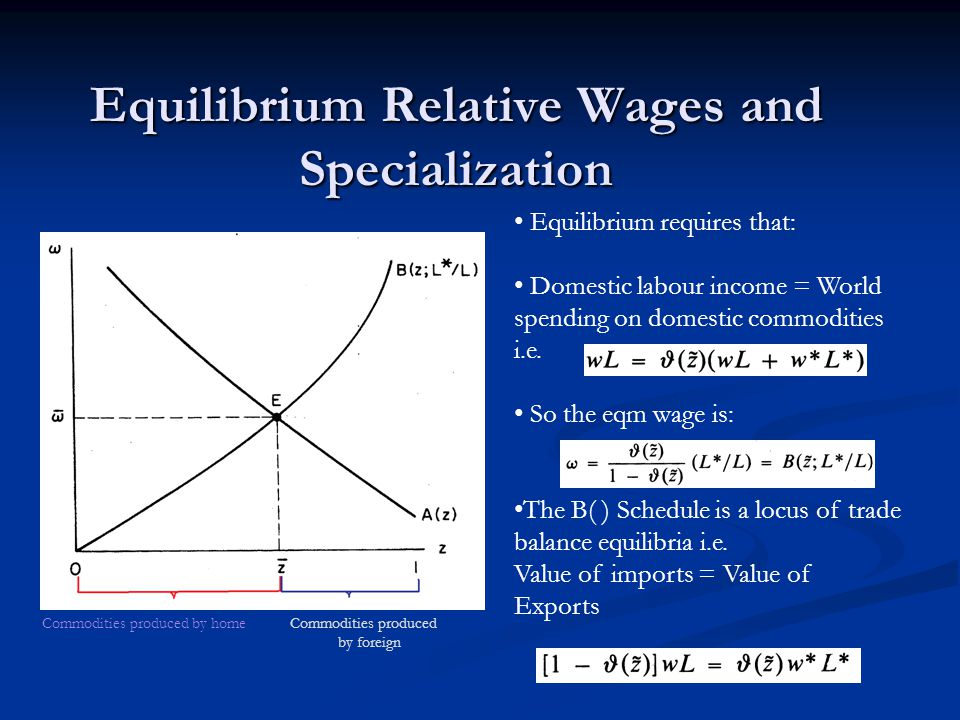 Equilibrium Relative Wages and Specialization Equilibrium requires that: Domestic labour income = World spending on domestic commodities i.e.