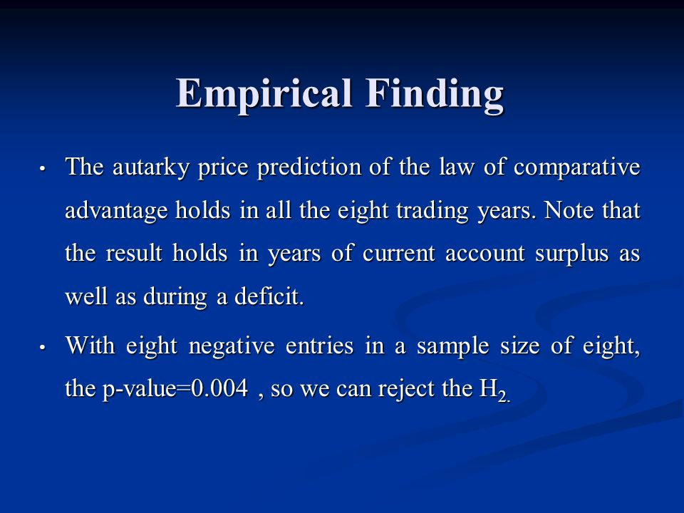 Empirical Finding The autarky price prediction of the law of comparative advantage holds in all the eight trading years.