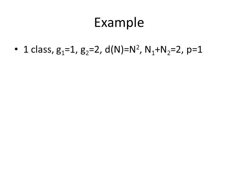 Example 1 class, g 1 =1, g 2 =2, d(N)=N 2, N 1 +N 2 =2, p=1