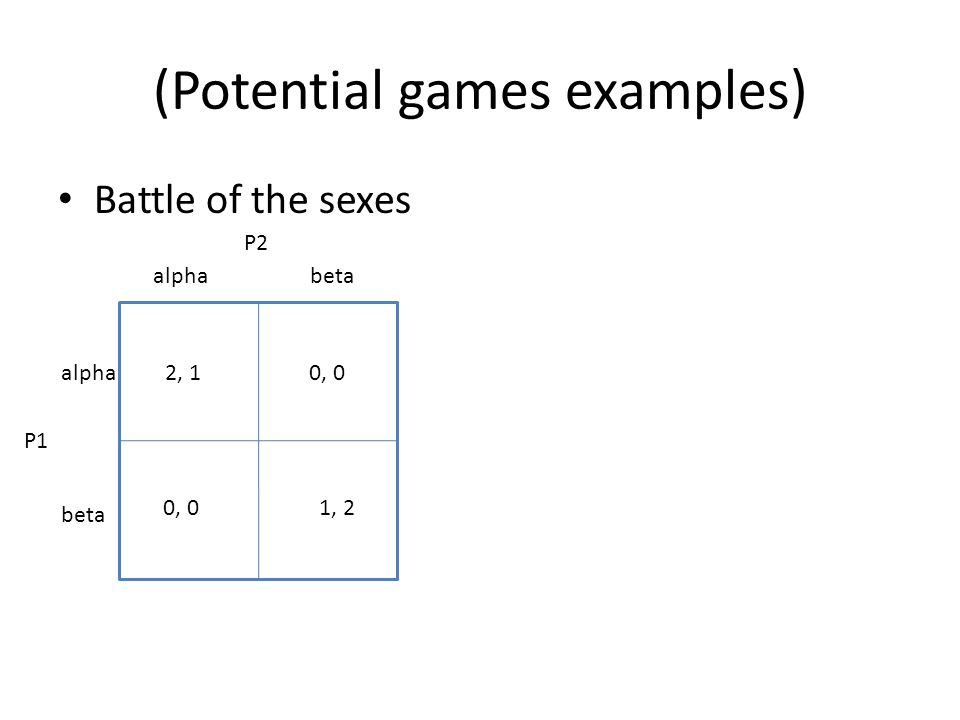 (Potential games examples) Battle of the sexes alphabeta alpha beta 2, 10, 0 1, 20, 0 P1 P2