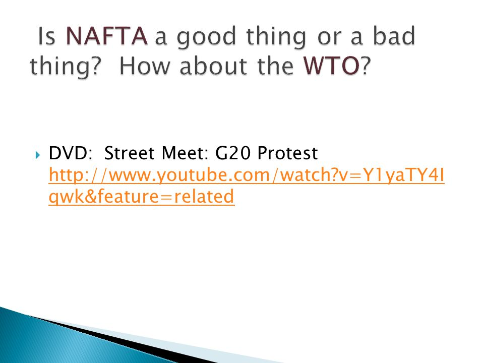 DVD: Street Meet: G20 Protest http://www.youtube.com/watch v=Y1yaTY4I qwk&feature=related http://www.youtube.com/watch v=Y1yaTY4I qwk&feature=related