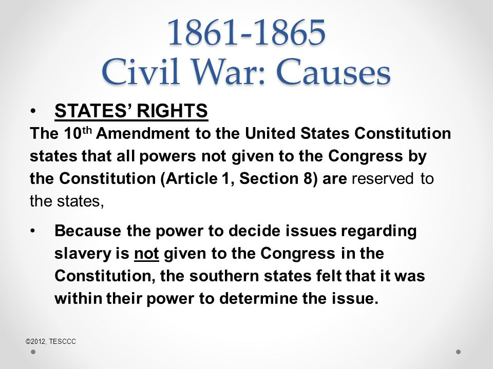 Causes of the Civil War?