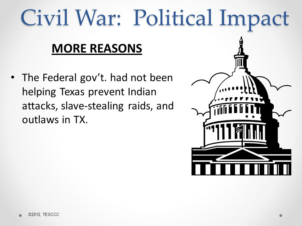 MORE REASONS The Federal govt.