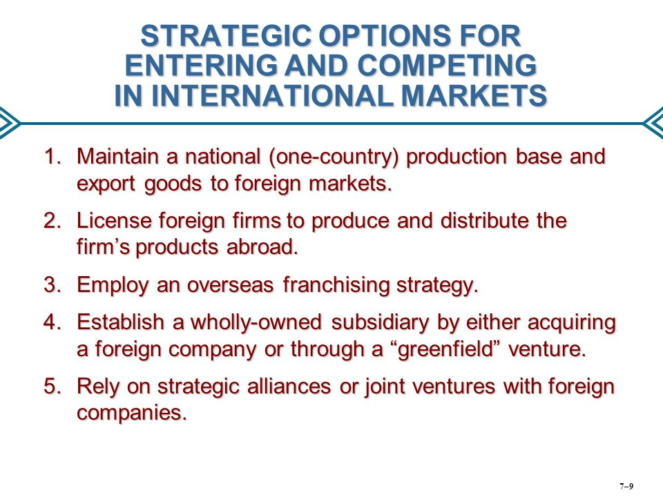 THE QUEST FOR COMPETITIVE ADVANTAGE IN THE INTERNATIONAL ARENA Use international location to lower cost or differentiate product Share resources and capabilities Gain cross-border coordination benefits Build Competitive Advantage in International Markets 7–20