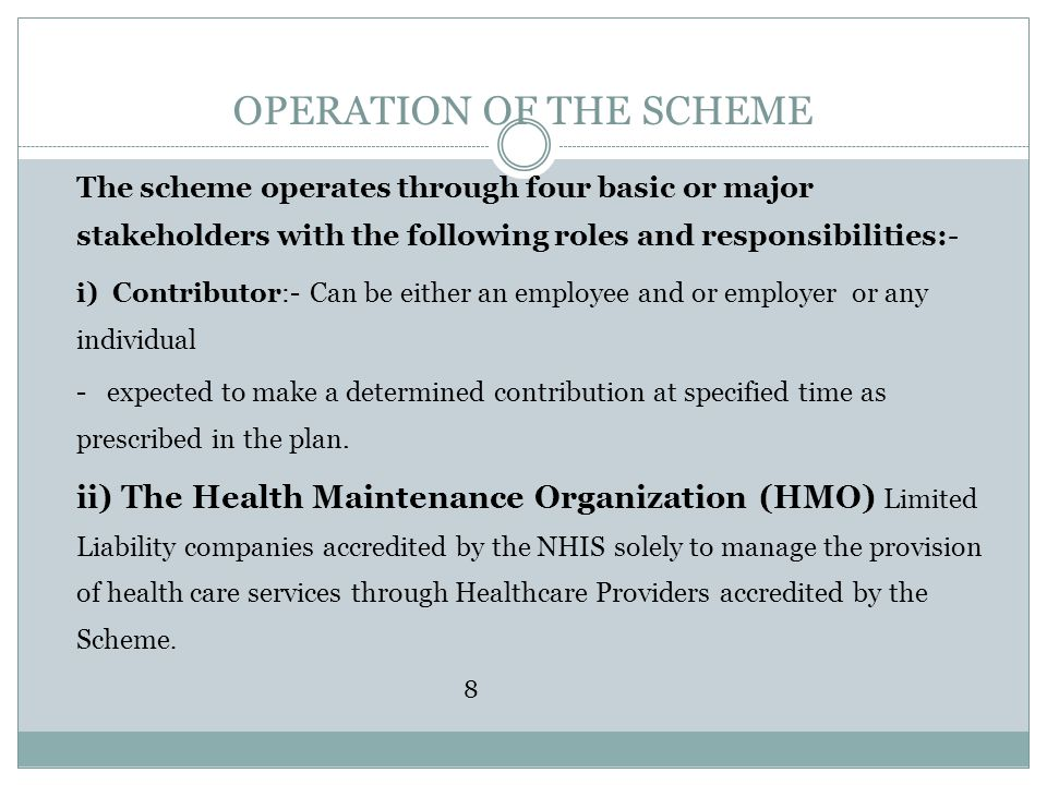 OPERATION OF THE SCHEME The scheme operates through four basic or major stakeholders with the following roles and responsibilities:- i) Contributor:-