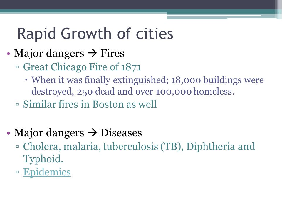 Rapid Growth of cities Major dangers Fires Great Chicago Fire of 1871 When it was finally extinguished; 18,000 buildings were destroyed, 250 dead and