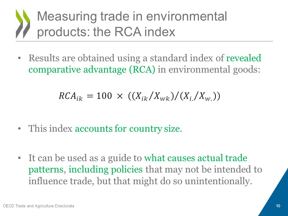 Results are obtained using a standard index of revealed comparative advantage (RCA) in environmental goods: This index accounts for country size. It c