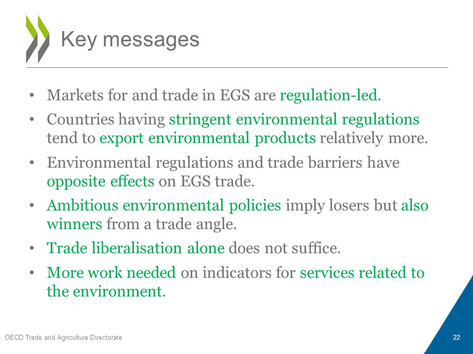 Markets for and trade in EGS are regulation-led. Countries having stringent environmental regulations tend to export environmental products relatively
