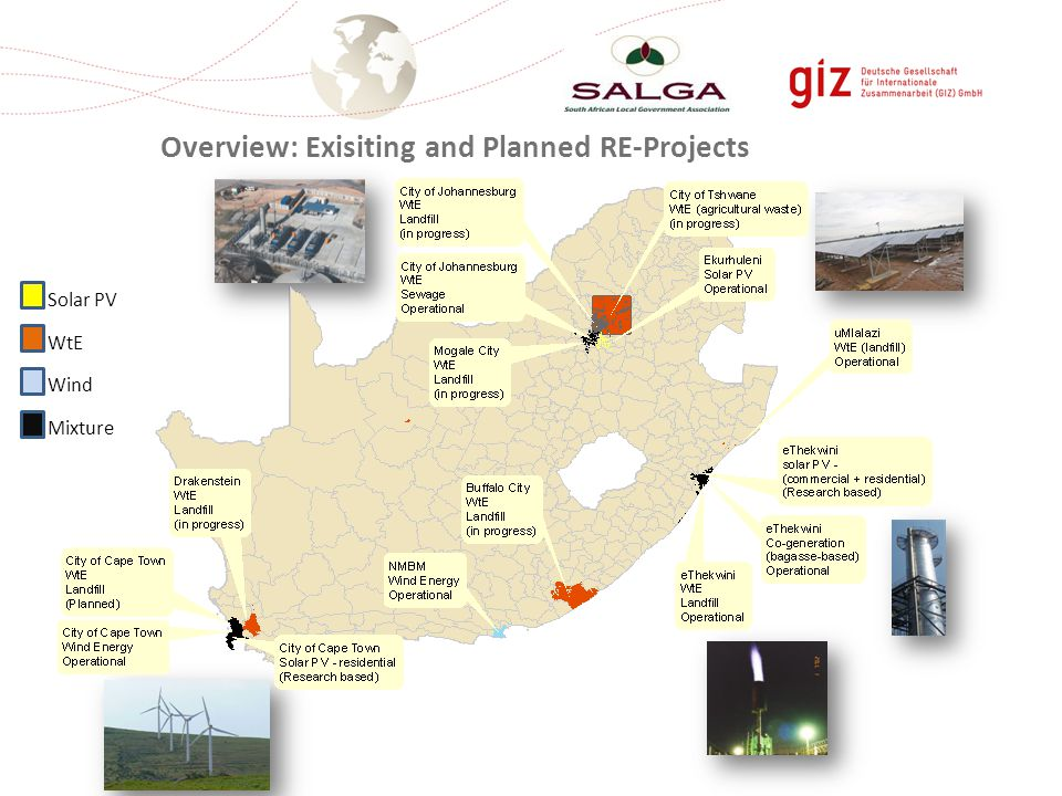 Solar PV WtE Wind Mixture Overview: Exisiting and Planned RE-Projects