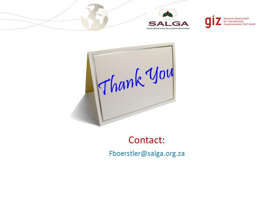 Contact: Fboerstler@salga.org.za