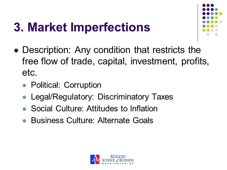 3. Market Imperfections Description: Any condition that restricts the free flow of trade, capital, investment, profits, etc. Political: Corruption Leg
