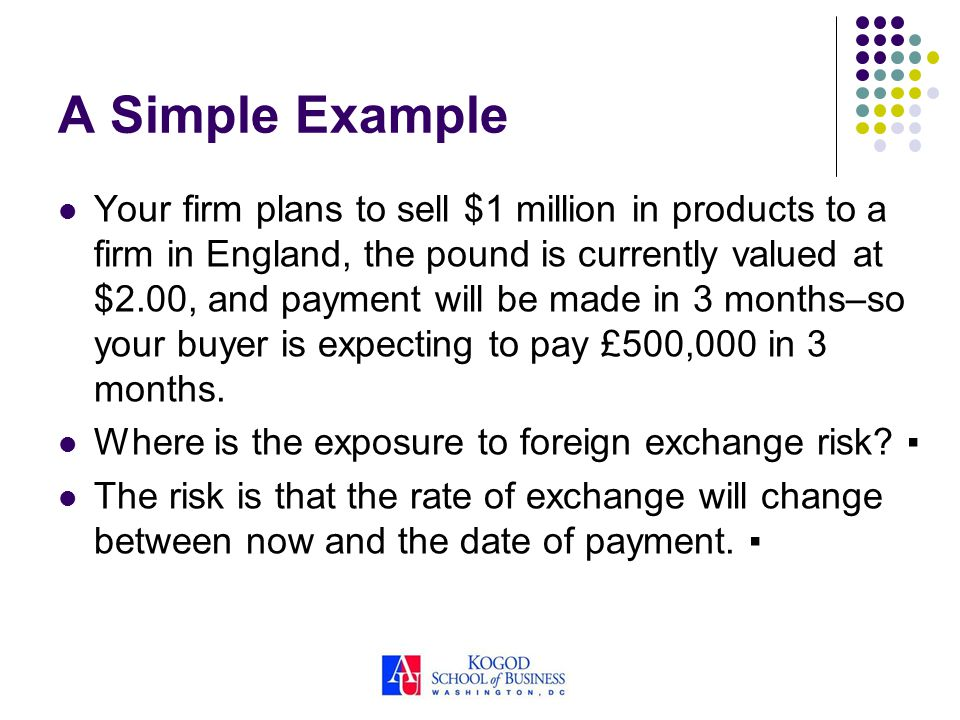 A Simple Example Your firm plans to sell $1 million in products to a firm in England, the pound is currently valued at $2.00, and payment will be made