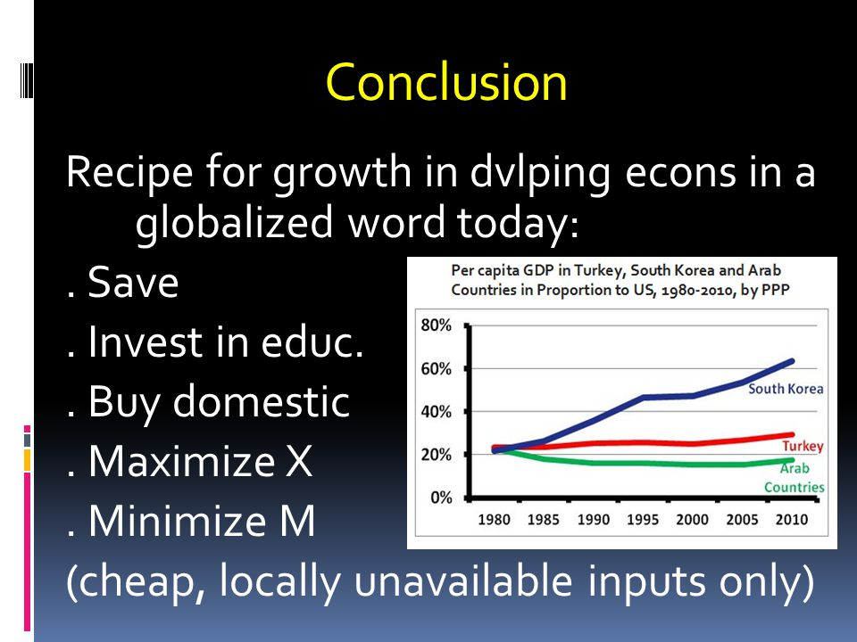 Conclusion Recipe for growth in dvlping econs in a globalized word today:.