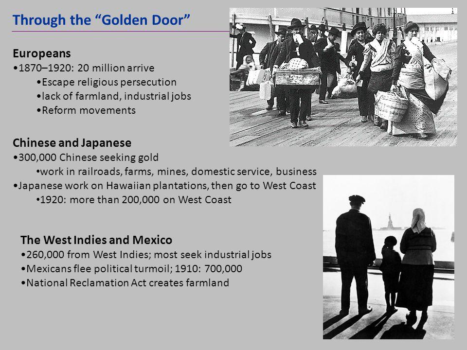 Through the Golden Door NEXT Europeans 1870–1920: 20 million arrive Escape religious persecution lack of farmland, industrial jobs Reform movements Ch