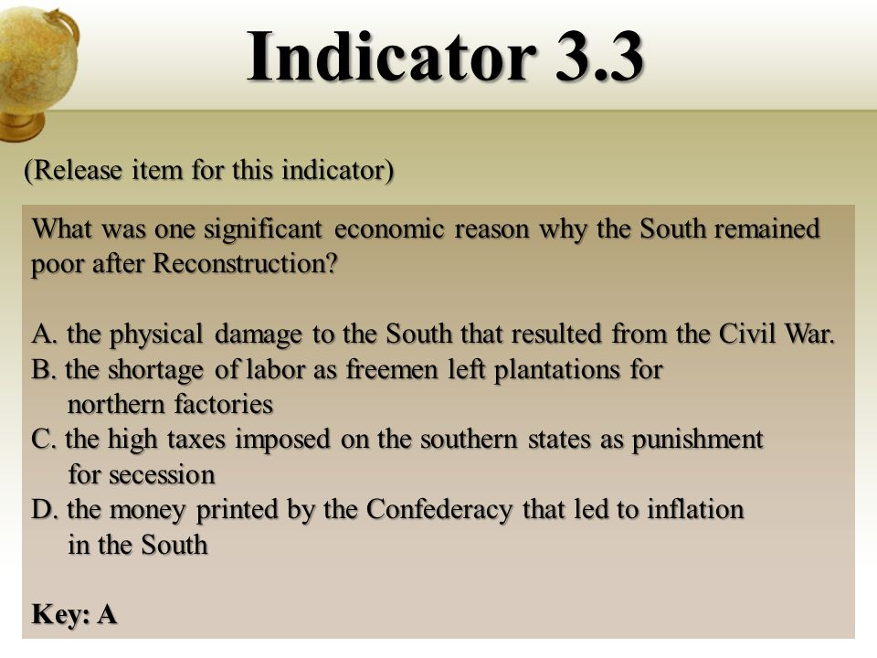 What was one significant economic reason why the South remained poor after Reconstruction.
