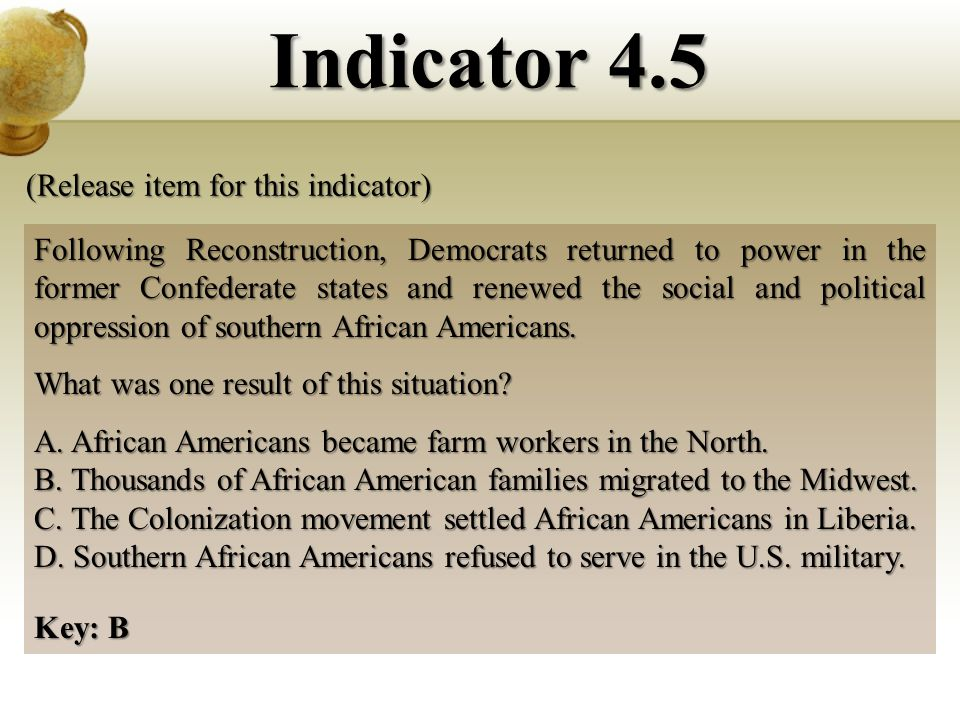 Following Reconstruction, Democrats returned to power in the former Confederate states and renewed the social and political oppression of southern African Americans.