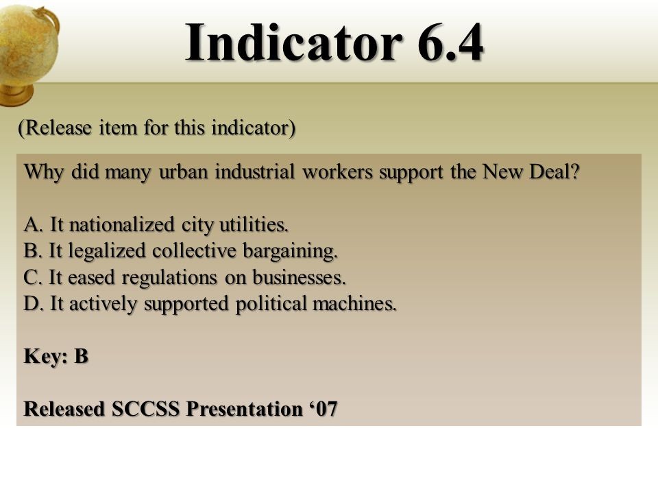 Why did many urban industrial workers support the New Deal.