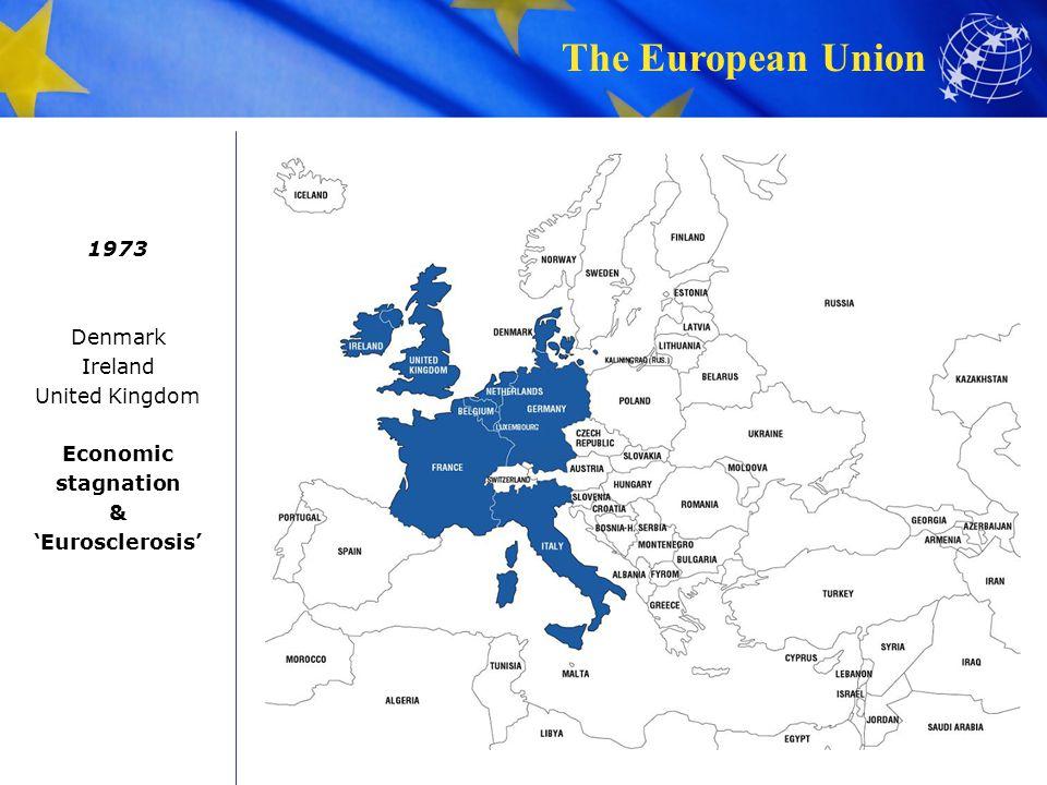The European Union 1973 Denmark Ireland United Kingdom Economic stagnation & Eurosclerosis