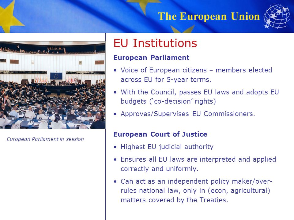 The European Union 1951: In the aftermath of World War II, the aim was to secure peace among Europes victorious and vanquished nations and bring them together as equals, cooperating within shared institutions.
