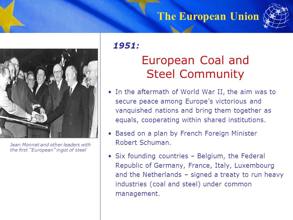 The European Union Treaty of Rome The six founding countries expanded cooperation to other economic sectors, creating the European Economic Community (EEC) – or common market.