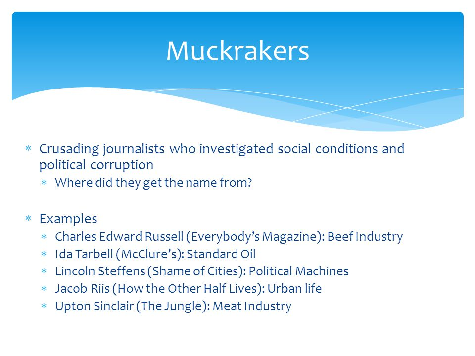 Crusading journalists who investigated social conditions and political corruption Where did they get the name from.