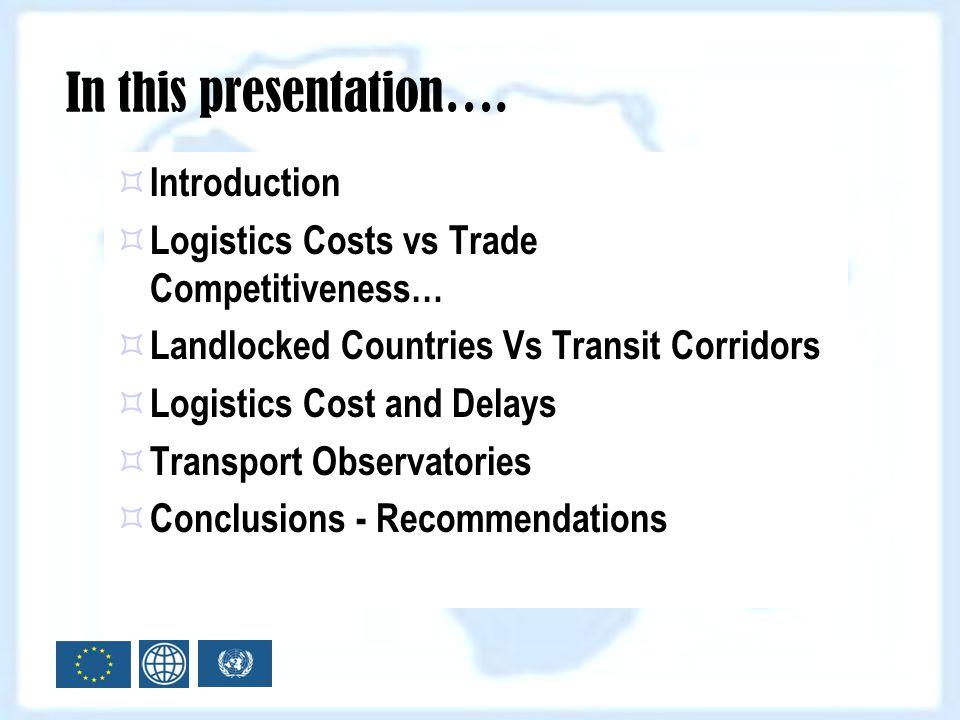 Introduction Logistics Costs vs Trade Competitiveness… Landlocked Countries Vs Transit Corridors Logistics Cost and Delays Transport Observatories Con