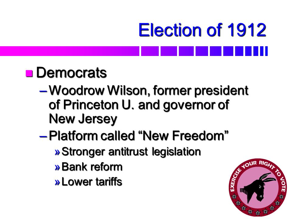 Election of 1912 nSnSnSnSplit in the Republican Party –R–R–R–Republicans chose Taft over Roosevelt –R–R–R–Roosevelt and the Progressives bolt, form Progressive Party, a.k.a.