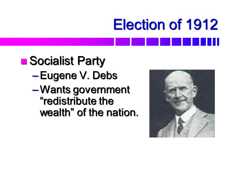 Election of 1912 nDnDnDnDemocrats –W–W–W–Woodrow Wilson, former president of Princeton U.