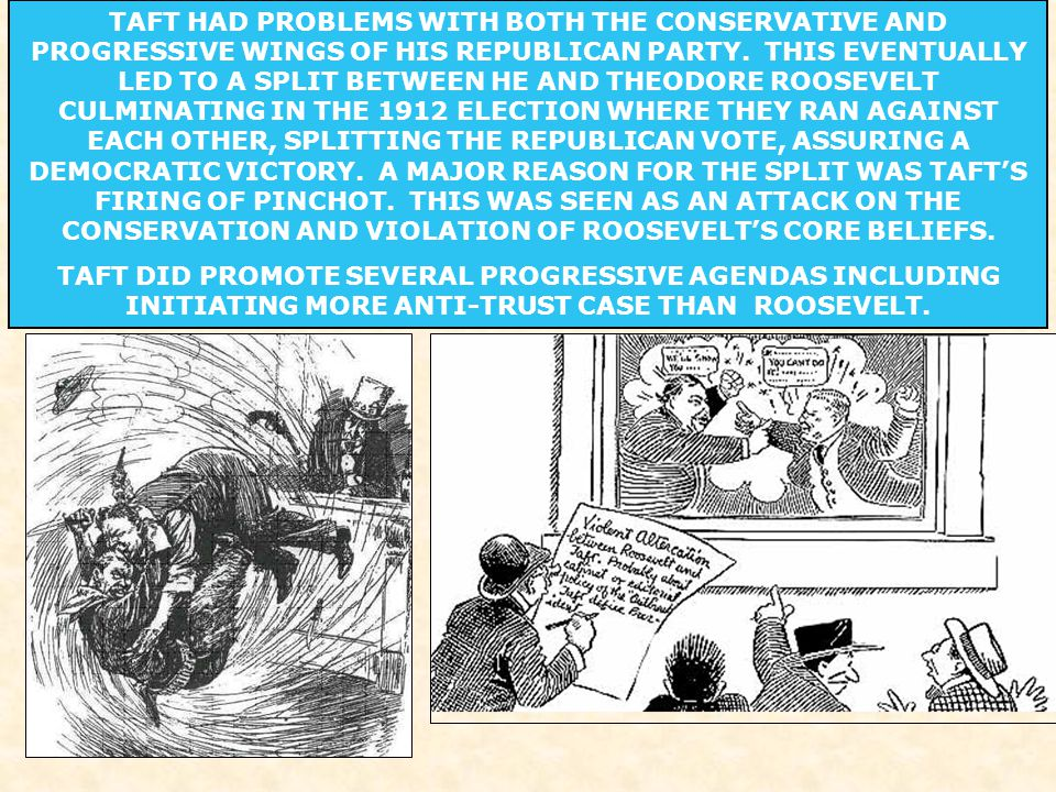 TAFT HAD PROBLEMS WITH BOTH THE CONSERVATIVE AND PROGRESSIVE WINGS OF HIS REPUBLICAN PARTY.