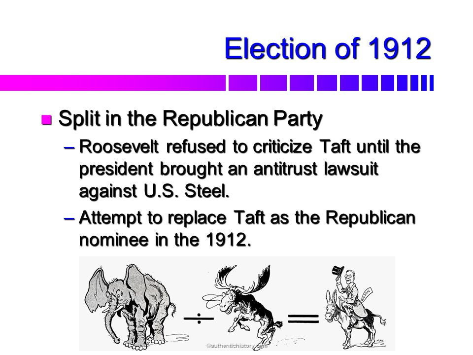 TAFT HAD PROBLEMS WITH BOTH THE CONSERVATIVE AND PROGRESSIVE WINGS OF HIS REPUBLICAN PARTY. THIS EVENTUALLY LED TO A SPLIT BETWEEN HE AND THEODORE ROO