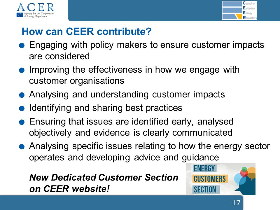 Engaging with policy makers to ensure customer impacts are considered.