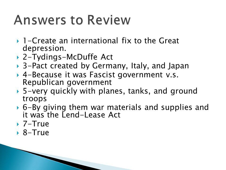 1-Create an international fix to the Great depression.