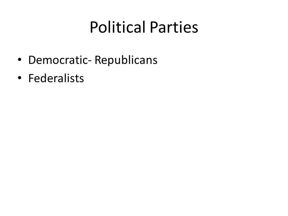 Political Parties Democratic- Republicans Federalists