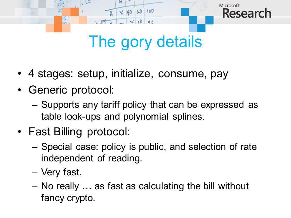 The gory details 4 stages: setup, initialize, consume, pay Generic protocol: –Supports any tariff policy that can be expressed as table look-ups and polynomial splines.