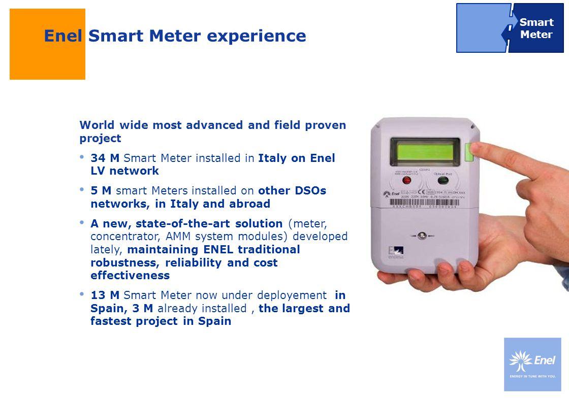 DateTitle of presentation Use: Insert classification Uso: pubblico Uso: pubblico Enel Smart Meter experience World wide most advanced and field proven