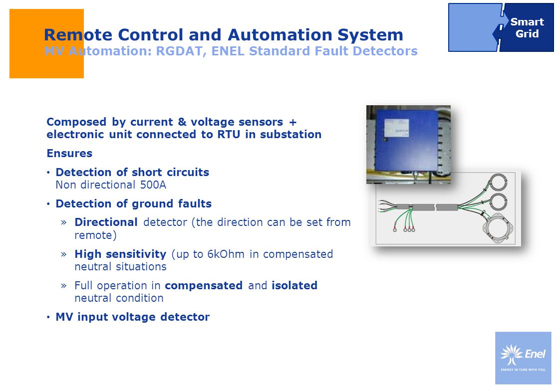 DateTitle of presentation Use: Insert classification Remote Control and Automation System MV Automation: RGDAT, ENEL Standard Fault Detectors Composed