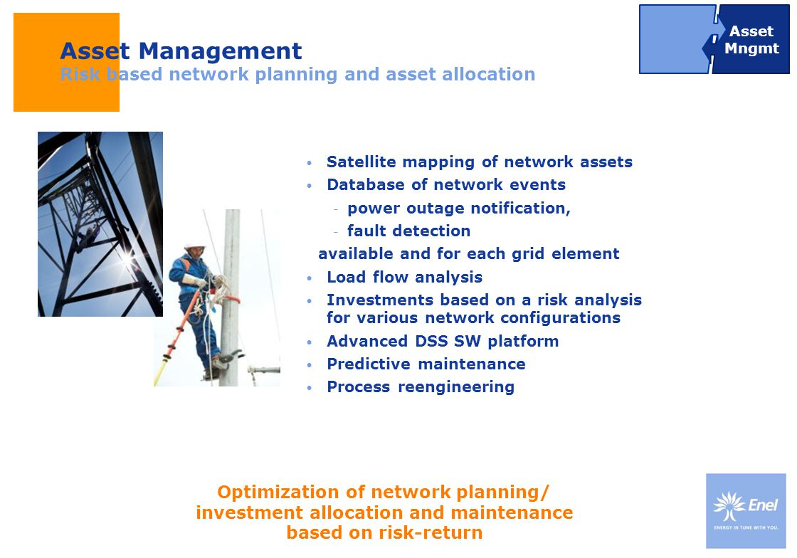 DateTitle of presentation Use: Insert classification Satellite mapping of network assets Database of network events  power outage notification,  fau