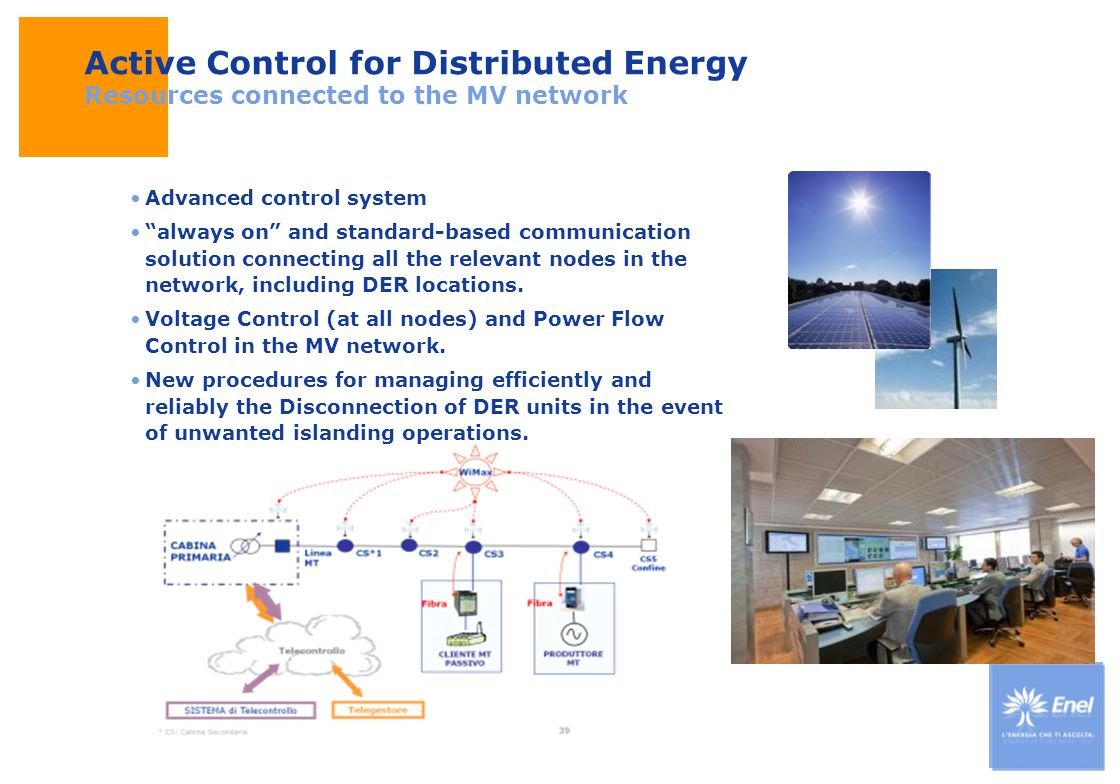 DateTitle of presentation Use: Insert classification Active Control for Distributed Energy Resources connected to the MV network Advanced control syst