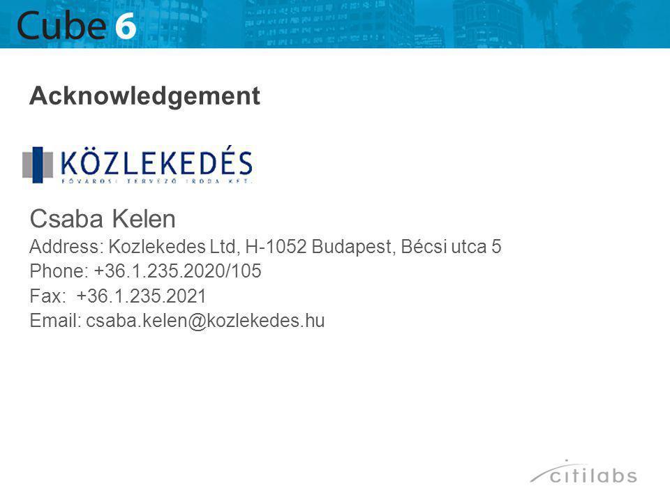 Csaba Kelen Address: Kozlekedes Ltd, H-1052 Budapest, Bécsi utca 5 Phone: +36.1.235.2020/105 Fax: +36.1.235.2021 Email: csaba.kelen@kozlekedes.hu Acknowledgement