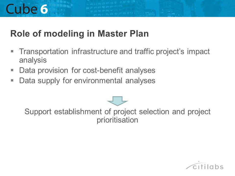 Transportation infrastructure and traffic projects impact analysis Data provision for cost-benefit analyses Data supply for environmental analyses Support establishment of project selection and project prioritisation Role of modeling in Master Plan