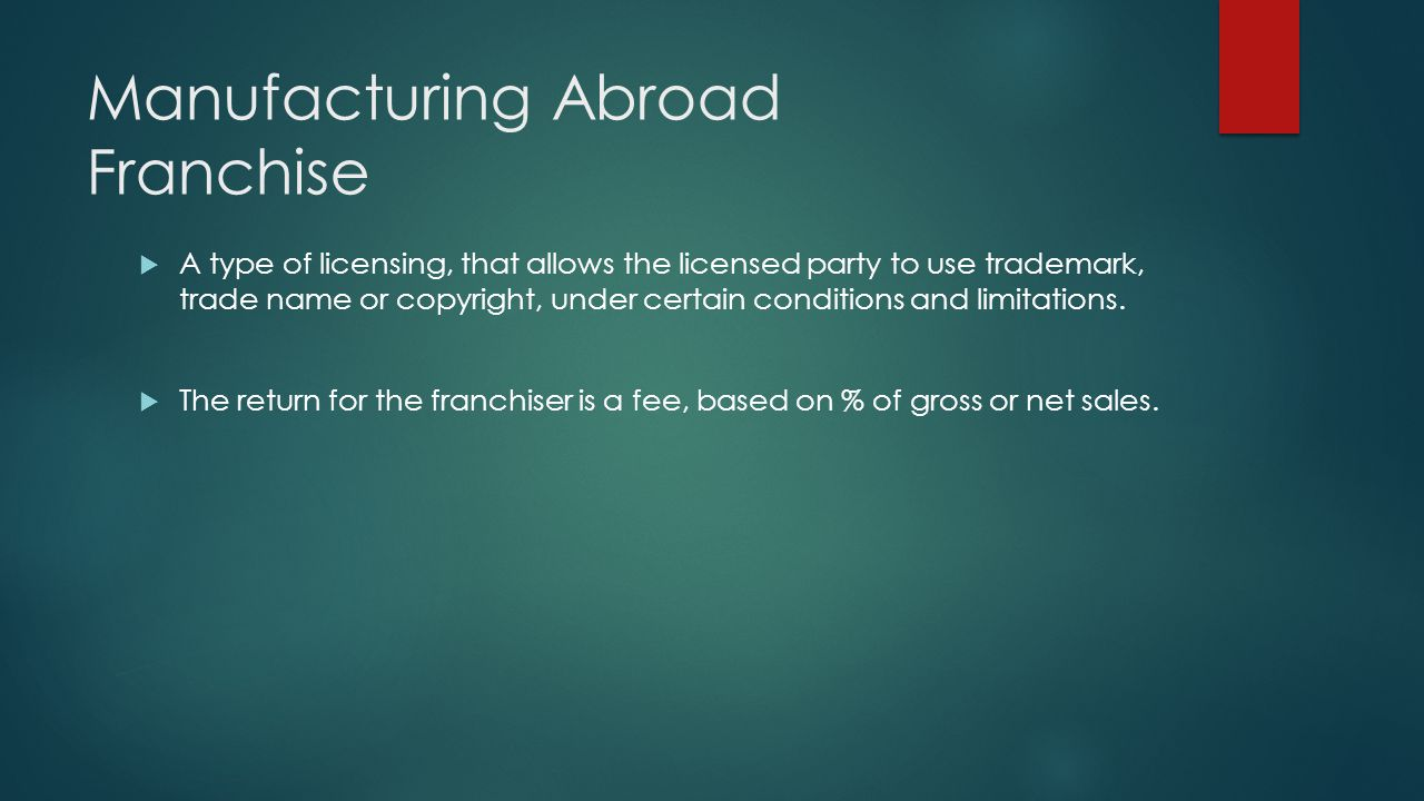 Manufacturing Abroad Franchise A type of licensing, that allows the licensed party to use trademark, trade name or copyright, under certain conditions