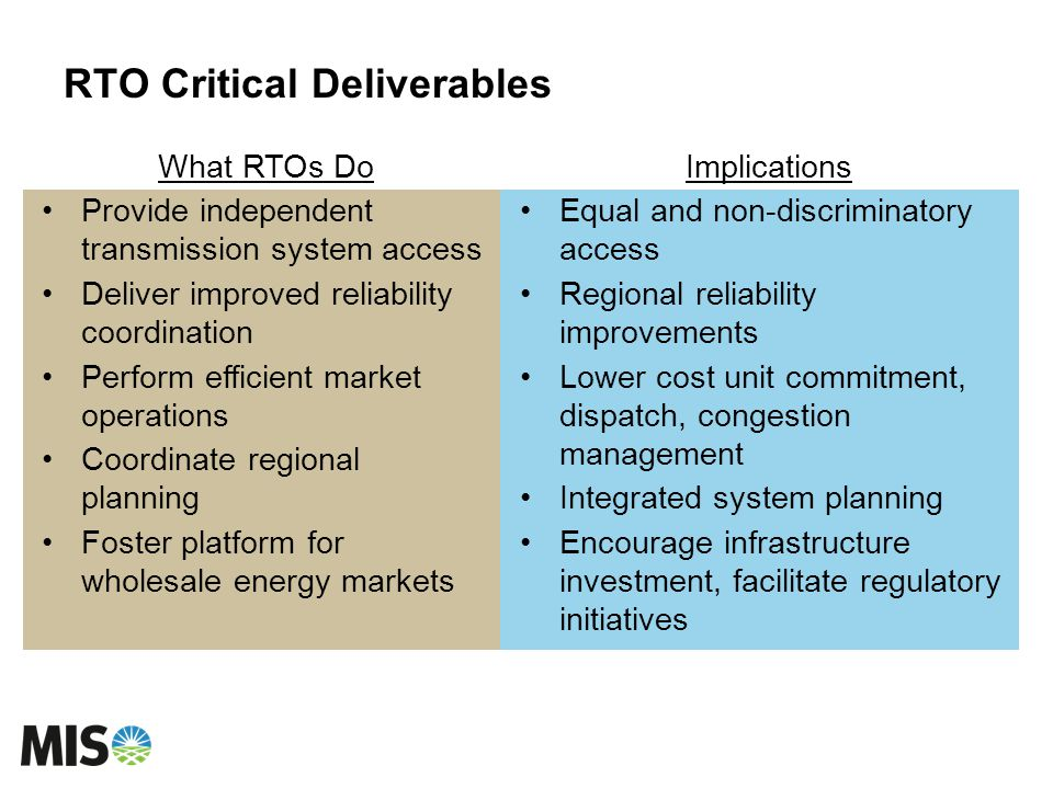 RTO Critical Deliverables What RTOs Do Provide independent transmission system access Deliver improved reliability coordination Perform efficient market operations Coordinate regional planning Foster platform for wholesale energy markets Implications Equal and non-discriminatory access Regional reliability improvements Lower cost unit commitment, dispatch, congestion management Integrated system planning Encourage infrastructure investment, facilitate regulatory initiatives