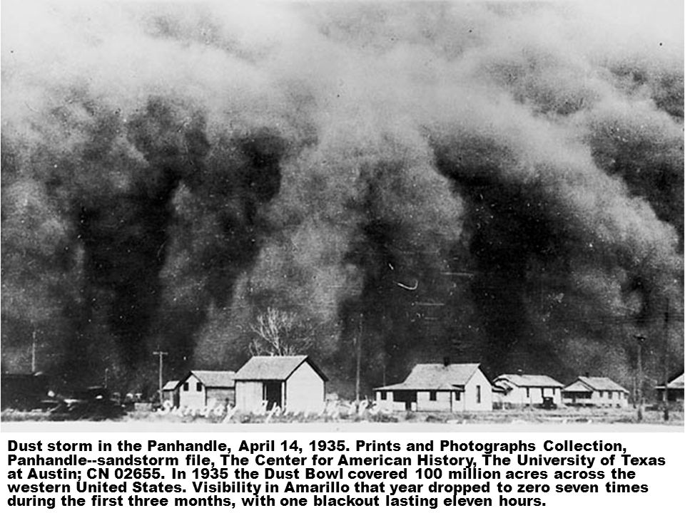 Dust storm in the Panhandle, April 14, 1935.