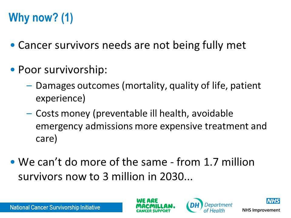 National Cancer Survivorship Initiative Why now? (1) Cancer survivors needs are not being fully met Poor survivorship: –Damages outcomes (mortality, q