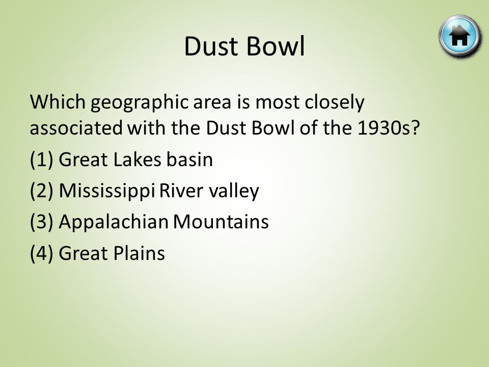 Dust Bowl Which geographic area is most closely associated with the Dust Bowl of the 1930s.