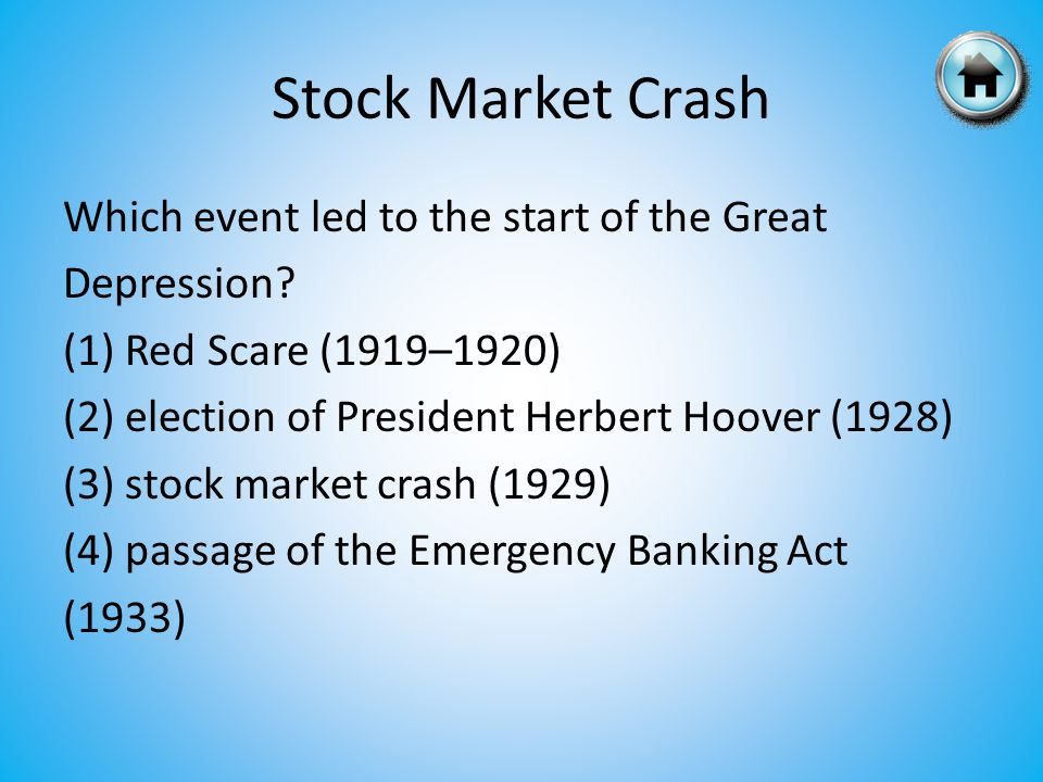 Which event led to the start of the Great Depression.
