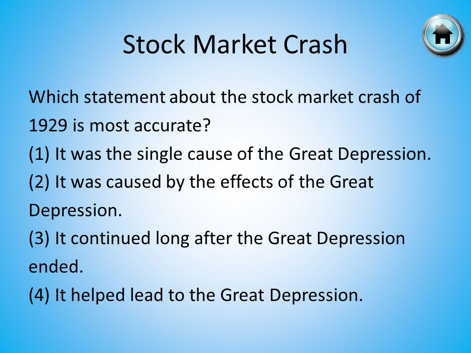 Which statement about the stock market crash of 1929 is most accurate.