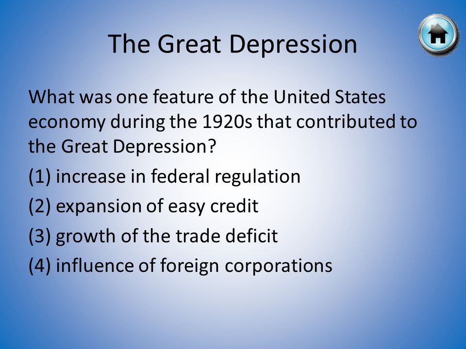 What was one feature of the United States economy during the 1920s that contributed to the Great Depression.