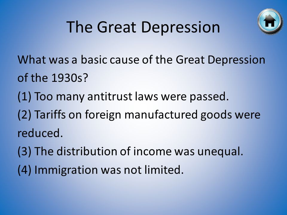 What was a basic cause of the Great Depression of the 1930s.