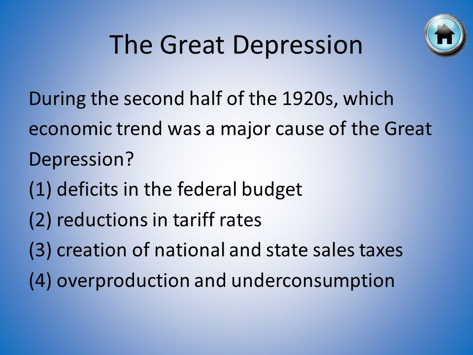 During the second half of the 1920s, which economic trend was a major cause of the Great Depression.